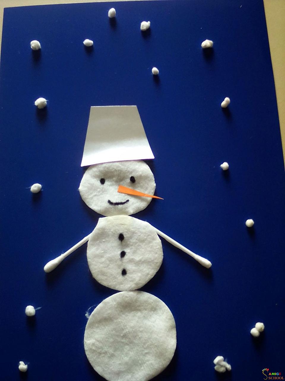 картинка из ватного диска снеговик нас можно